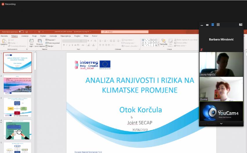 U okviru projekta Joint_SECAP održana prezentacija Procjene rizika i ranjivosti na klimatske promjene za otok Korčulu