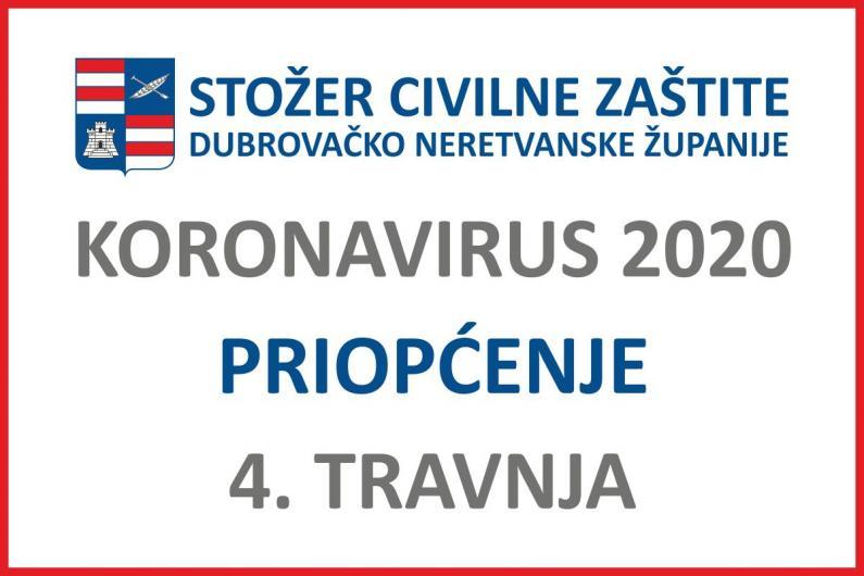 Priopćenje Stožera civilne zaštite DNŽ, 04. travnja 2020. godine
